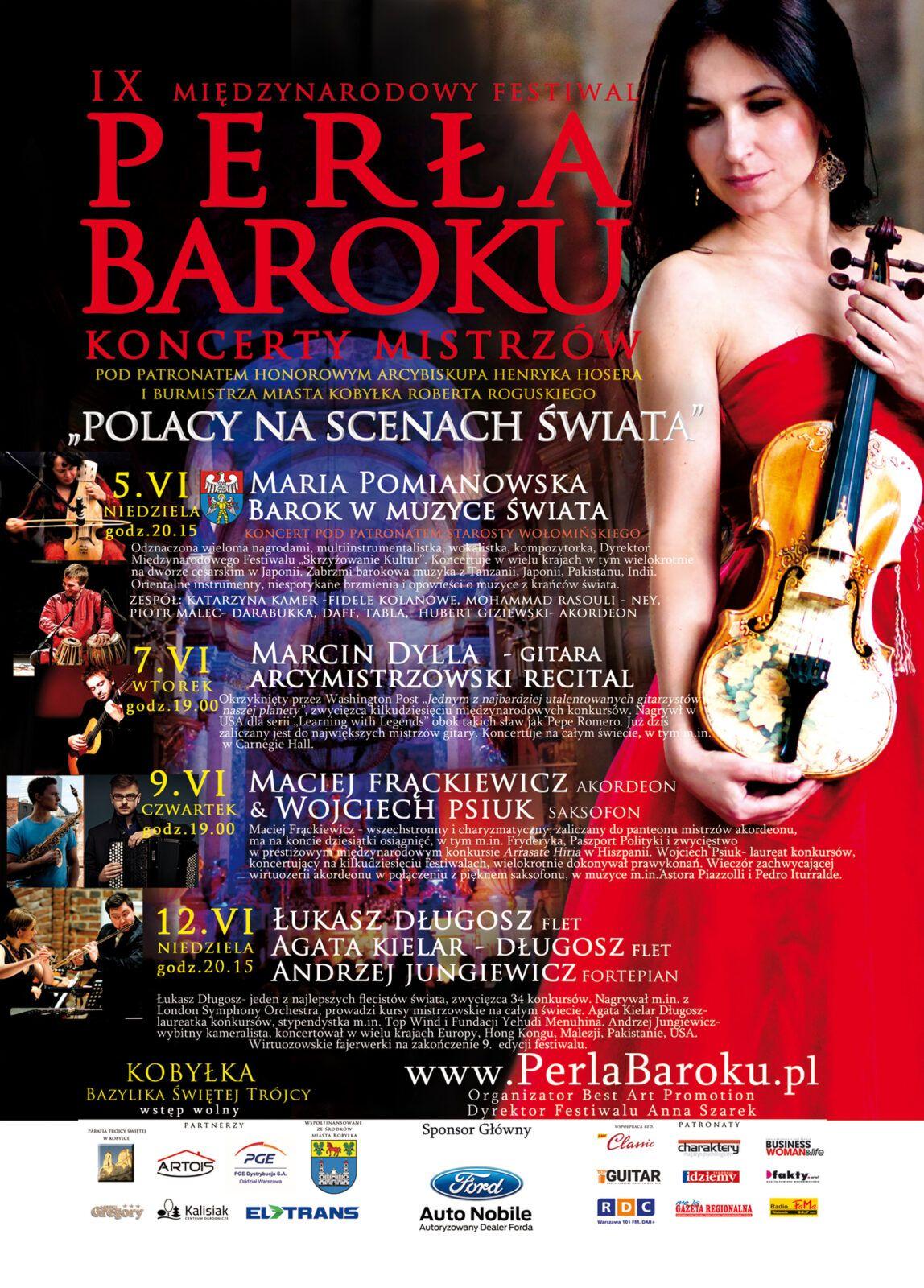 9 Międzynarodowy Festiwal Perła Baroku - Koncerty Mistrzów 2016 plakat