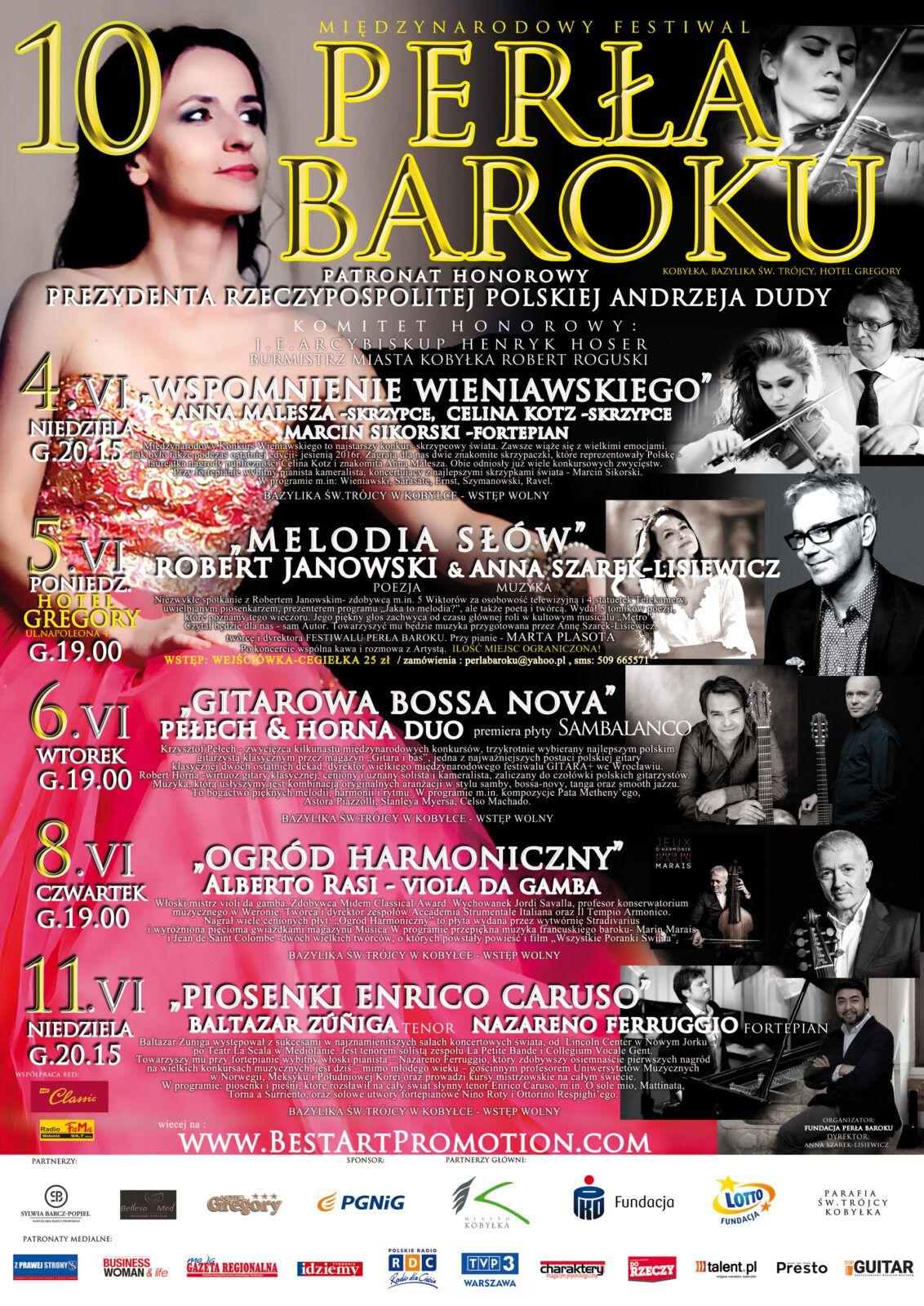 10 Międzynarodowy Festiwal Perła Baroku - Koncerty Mistrzów 2017 plakat